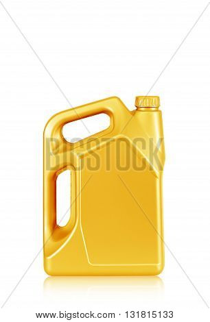 Engine oil canister isolated on white background. gold color