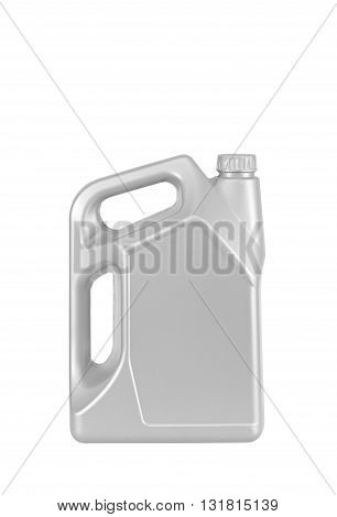 Engine oil canister isolated on white background. silver color