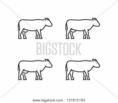 Vector black outline cow. Line silhouettes cow isolated on white.