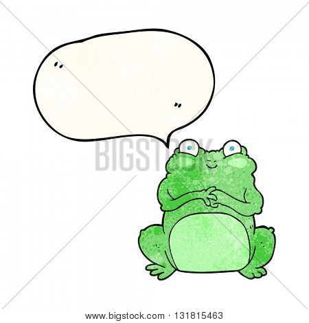 freehand speech bubble textured cartoon funny frog