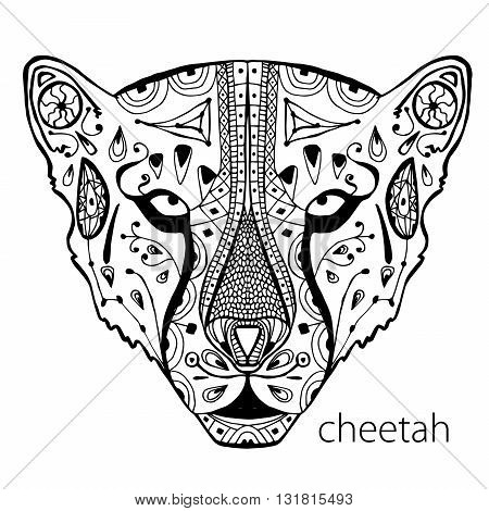 The black and white cheetah print with ethnic patterns. Coloring book for adults antistress. Art therapy, zenart, meditaion. The image on the fabric, tattoo, vector