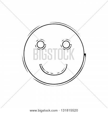 Smile face grunge icon symbol Emoji. Textured line. Black smile. Vector smile