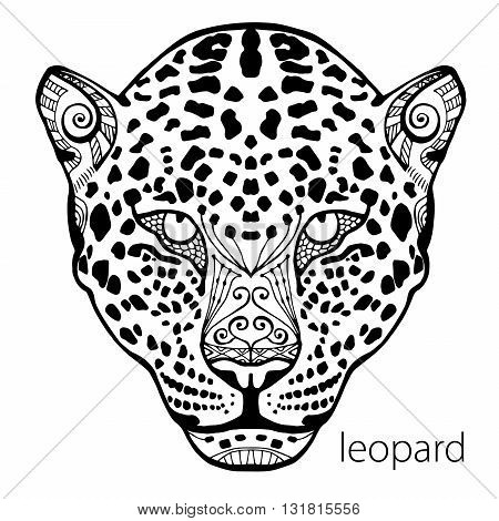 The black and white leopard print with ethnic patterns. Coloring book for adults antistress. Art therapy, zenart, meditaion. The image on the fabric, tattoo, vector