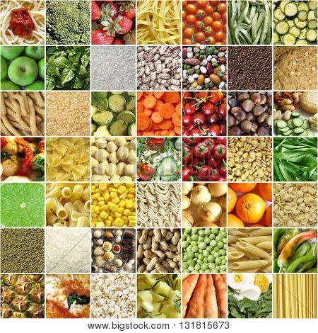 Food collage including 49 pictures of vegetables fruit pasta and more