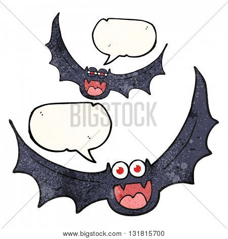 freehand speech bubble textured cartoon halloween bats