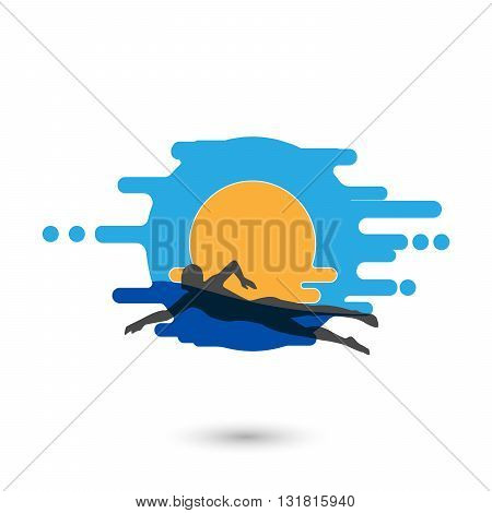 Swimmer Logo Design Element. Swimmer icon illustration. Vector sign swimming in the pool. Swimmer in Vawe. Swimming icon. Vector illustration