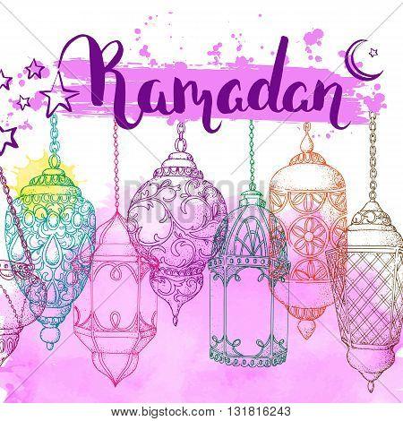 Ramadan Kareem. Arabic lanterns. Bright vector watercolor background. Ink hand drawn inscription. Typography. Brush lettering. Calligraphy. Ramadan greeting card. Pink watercolor card. Sketch.