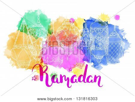 Ramadan Kareem. Arabic lanterns. Bright vector watercolor background. Ink hand drawn inscription. Typography. Brush lettering. Calligraphy. Ramadan greeting card. Colorful watercolor card. Sketch.