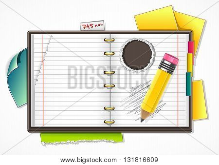 Vector cartoony brown detailed copybook for school