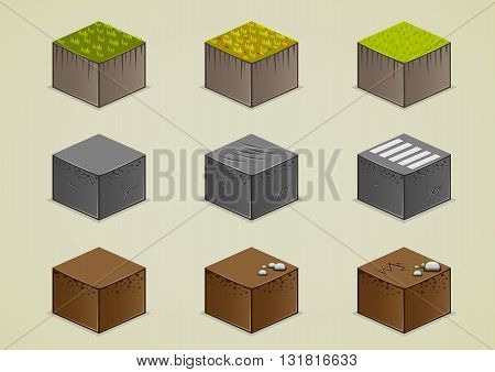 Isometric grounds collection with grass and stones