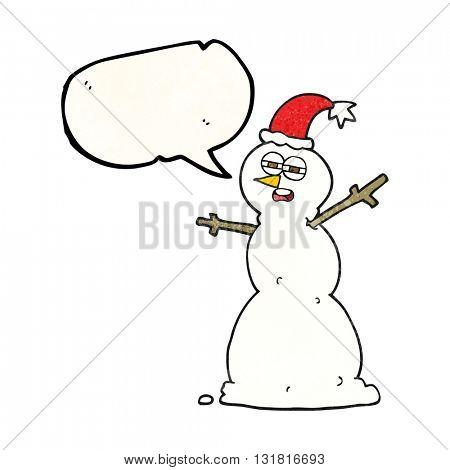 freehand speech bubble textured cartoon unhappy snowman