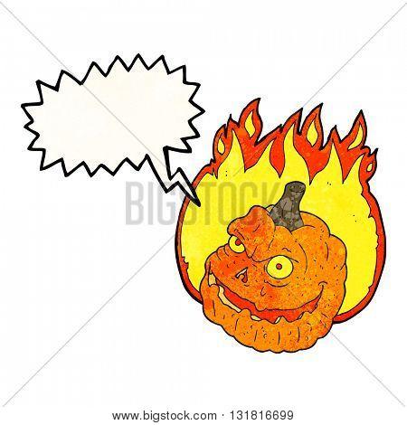 freehand speech bubble textured cartoon spooky pumpkin