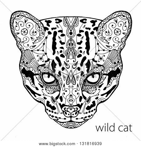 The black and white wild cat print with ethnic patterns. Coloring book for adults antistress. Art therapy, zenart, meditaion. The image on the fabric, tattoo, vector