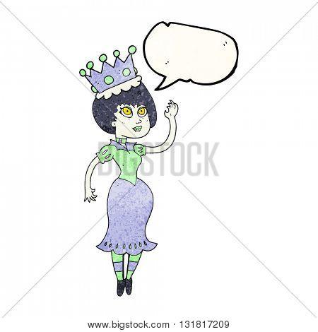 freehand speech bubble textured cartoon vampire queen waving