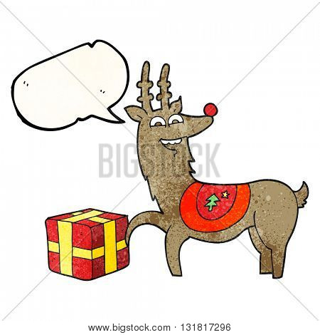 freehand speech bubble textured cartoon christmas reindeer with present