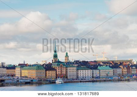 skyline of old town Gamla Stan in Stockholm, Sweden