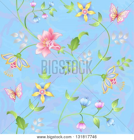 Decor floral elements seamless set isolated on camo blue background (vector illustration)