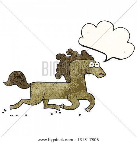 freehand speech bubble textured cartoon running horse