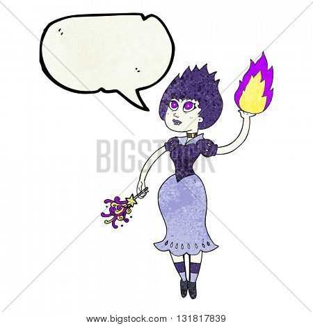 freehand speech bubble textured cartoon vampire girl casting fireball