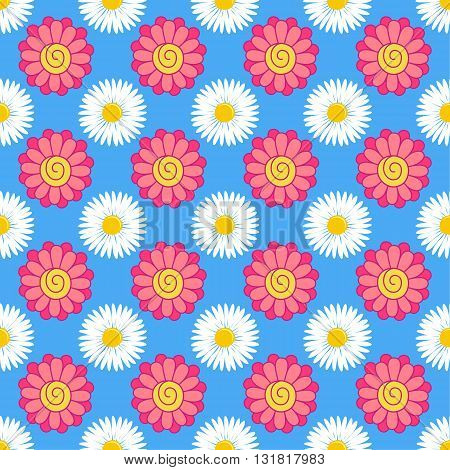 Flowers (stylized gerbera chamomile) seamless background isolated on blue vector illustration