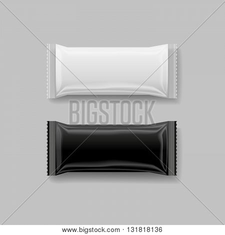 snack package black & white 3 d vector illustration