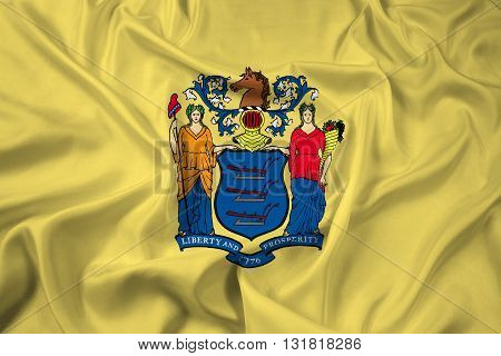 Waving Flag of New Jersey State, with beautiful satin background