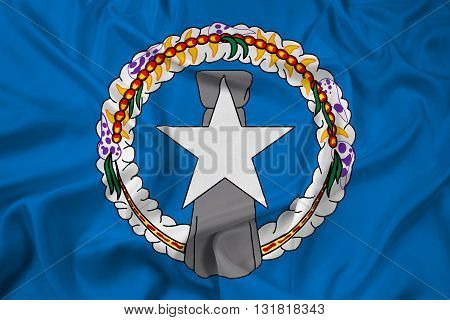 Waving Flag of Northern Mariana Islands, with beautiful satin background