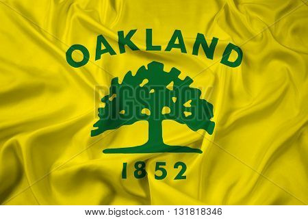 Waving Flag of Oakland California, with beautiful satin background