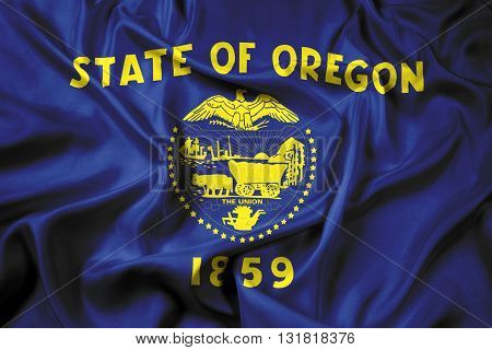 Waving Flag of Oregon State, with beautiful satin background