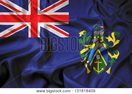 Waving Flag of Pitcairn Islands, with beautiful satin background