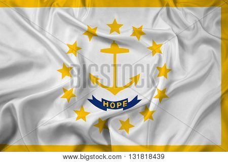 Waving Flag of Rhode Island, with beautiful satin background