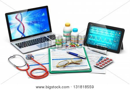 Laptop or notebook and tablet PC with diagnostic software on screen interface, prescription pad, stethoscope, plastic bottles and containers with color pills and heap of drugs and other supplies isolated on white background