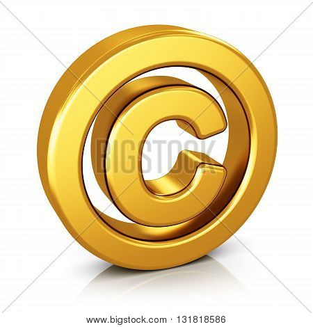 3D render illustration of shiny golden metallic copyright symbol isolated on white background with reflection effect