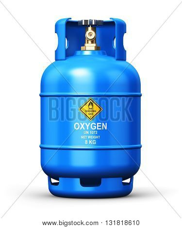 3D render illustration of blue metal steel liquefied compressed natural oxygen gas container or cylinder for welding or medical use with high pressure gauge meter isolated on white background