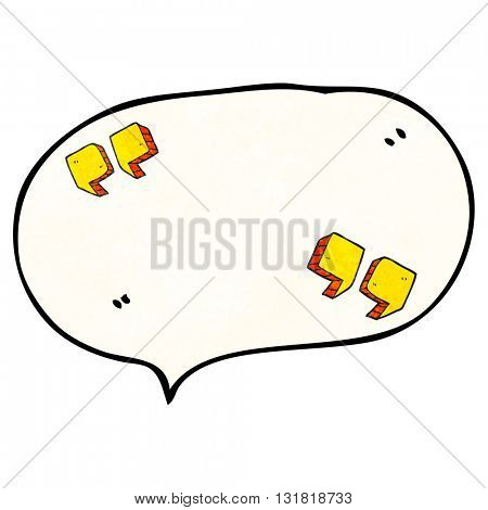 freehand speech bubble textured cartoon quotation marks