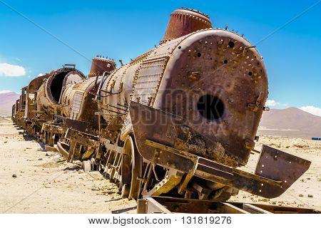 Rusty old steam train in the Train Cemetery Bolivia