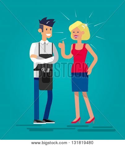Detailed character male smiling Barber woman satisfied customer. Illustration with gay hairdresser. Web banner template  for beauty saloon