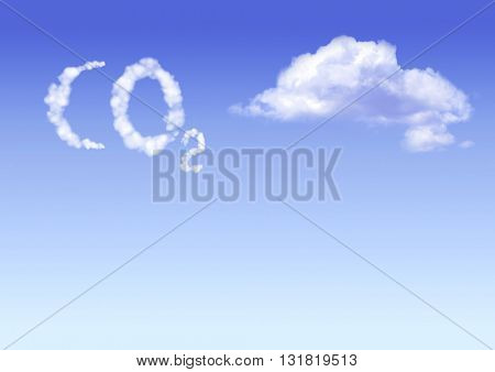 Symbol CO2 from clouds on blue sku background