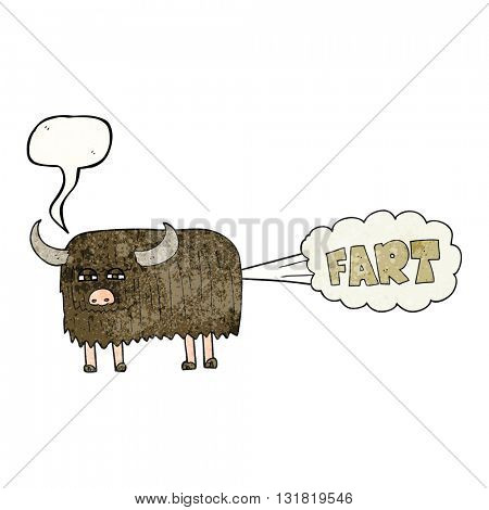 freehand speech bubble textured cartoon hairy cow farting
