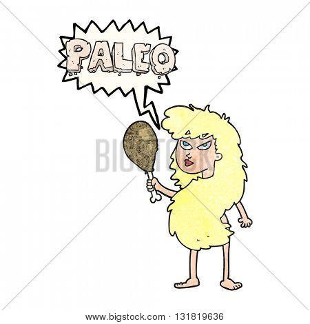 freehand speech bubble textured cartoon woman on paleo diet