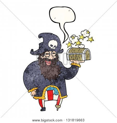 freehand speech bubble textured cartoon pirate captain with treasure chest