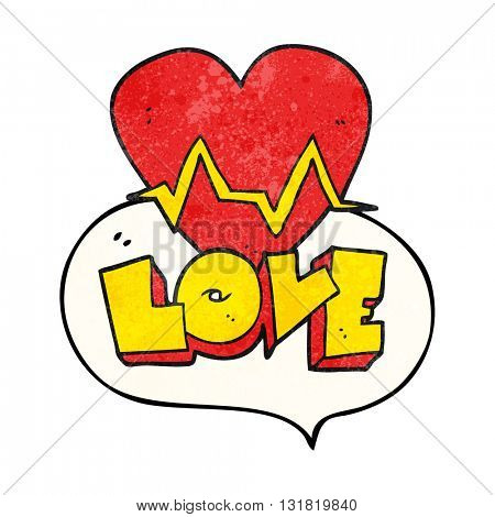 freehand speech bubble textured cartoon heart rate pulse love symbol