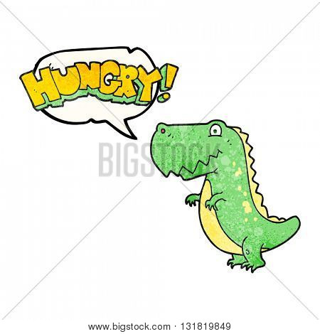 freehand speech bubble textured cartoon hungry dinosaur