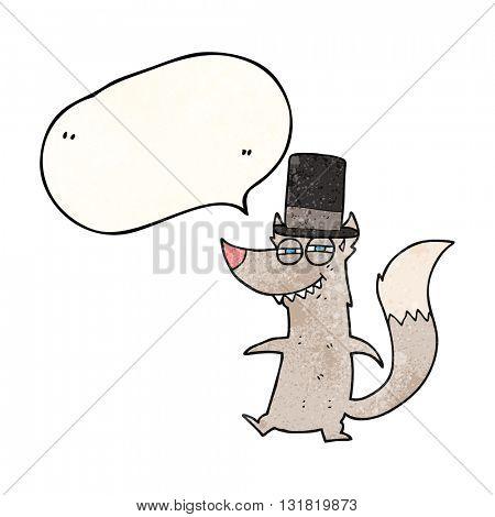 freehand speech bubble textured cartoon little wealthy wolf