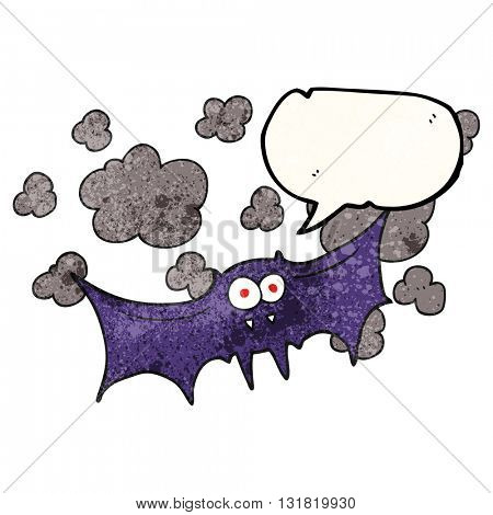 freehand speech bubble textured cartoon vampire bat