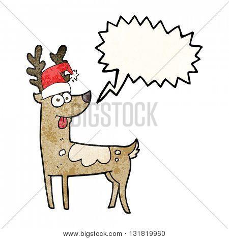 freehand speech bubble textured cartoon crazy reindeer