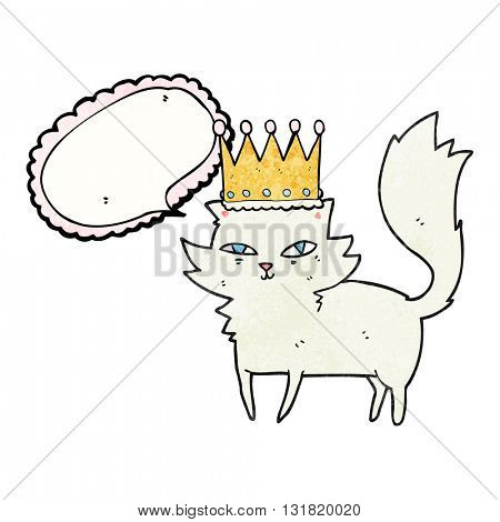 freehand speech bubble textured cartoon posh cat