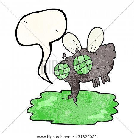 freehand speech bubble textured cartoon gross fly