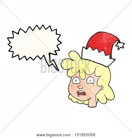 freehand speech bubble textured cartoon stressed woman wearing santa hat