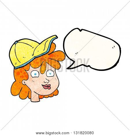 freehand speech bubble textured cartoon woman wearing cap